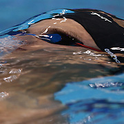 Pavel Sankovich, Belarus, in action in the Men's 100m backstroke heats during the swimming heats at the Aquatic Centre at Olympic Park, Stratford during the London 2012 Olympic games. London, UK. 29th July 2012. Photo Tim Clayton