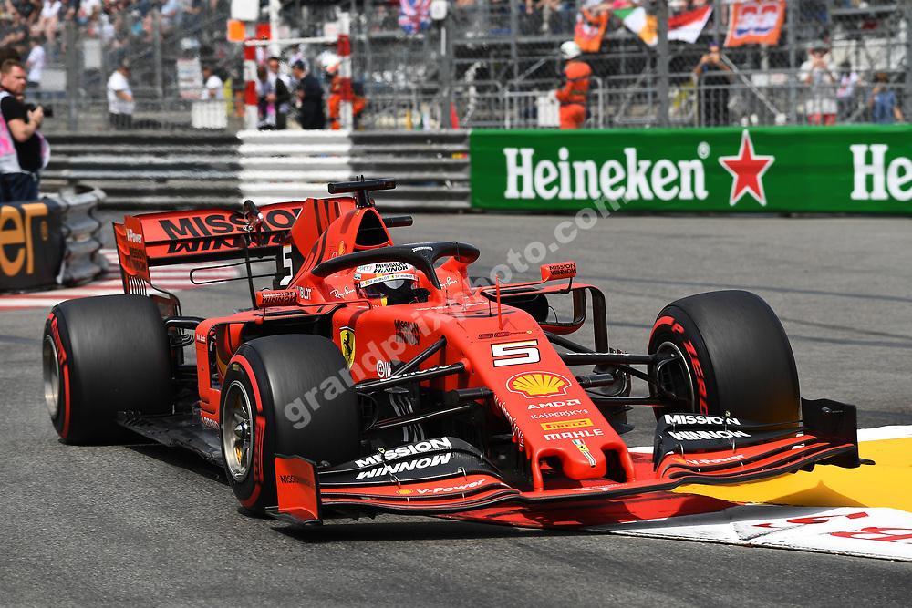 Sebastian Vettel (Ferrari) during qualifying before the 2019 Monaco Grand Prix. Photo: Grand Prix Photo