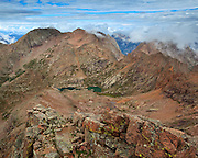 Looking westward from the summit of Windom Peak towards Mount Eolus 14,083ft and North Eolus 14,039ft.