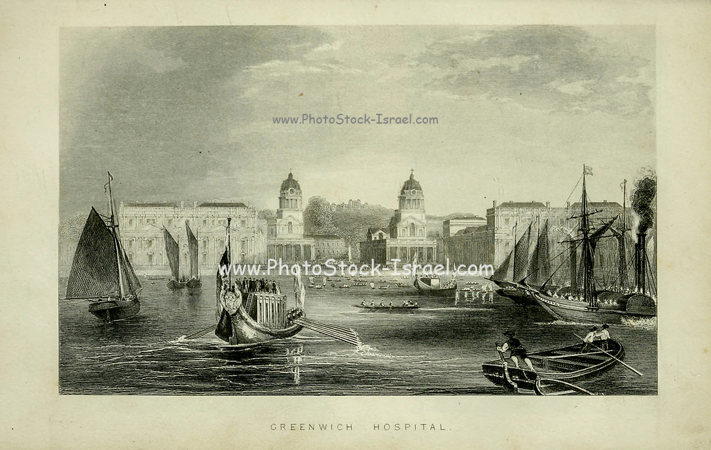 London Greenwich Hospital on the Thames From the book Illustrated London, or a series of views in the British metropolis and its vicinity, engraved by Albert Henry Payne, from original drawings. The historical, topographical and miscellanious notices by Bicknell, W. I; Payne, A. H. (Albert Henry), 1812-1902 Published in London in 1846 by E.T. Brain & Co