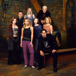Feb 13, 2001; Burbank, California, USA; Front to Back (LtoR): Actors NICHOLAS BRENDON (Xander), ALYSON HANNIGAN (Willow), SARAH MICHELLE GELLAR (Buffy), MICHELLE TRACHTENBERG (Dawn), EMMA CAUFIELD (Anya), ANTHONY STEWART HEAD (Giles), AMBER BENSON (Tara) & JAMES MARSTERS (Spike) star in The WB's hit series 'Buffy The Vampire Slayer.'.  (Credit Image: ZUMA Press/ZUMAPRESS.com)