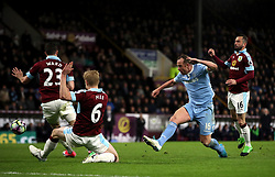 Stoke City's Charlie Adam misses from close range during the Premier League match at Turf Moor, Burnley.