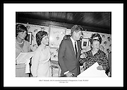 The picture shows President Kennedy and his sister, Mrs. Eunice Shriver, (left) with his relatives in the old Kennedy homestead in Dunganstown, Co. Wexford.  Mrs. Mary Ryan (right) Mimes Josephine (2nd Left) and Mary Anne (daughter).  <br /> <br /> 27th June 1963