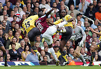 Photo: Paul Thomas.<br /> West Ham United v Arsenal. The Barclays Premiership. 24/09/2005.<br /> <br /> A possible hand ball in the Arsenal box, but the West Ham appeal was turned down.