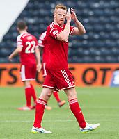 12/04/15 SCOTTISH PREMIERSHIP<br /> KILMARNOCK v ABERDEEN<br /> RUGBY PARK - KILMARNOCK<br /> Aberdeen's Adam Rooney applauds the fans at full-time