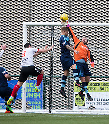 Forfar Athletic's Martin Fotheringham in action after the keeper was sent off. Clyde 2 v 2 Forfar Athletic, Scottish League Two game played 4/3/2017 at Clyde's home ground, Broadwood Stadium, Cumbernauld.
