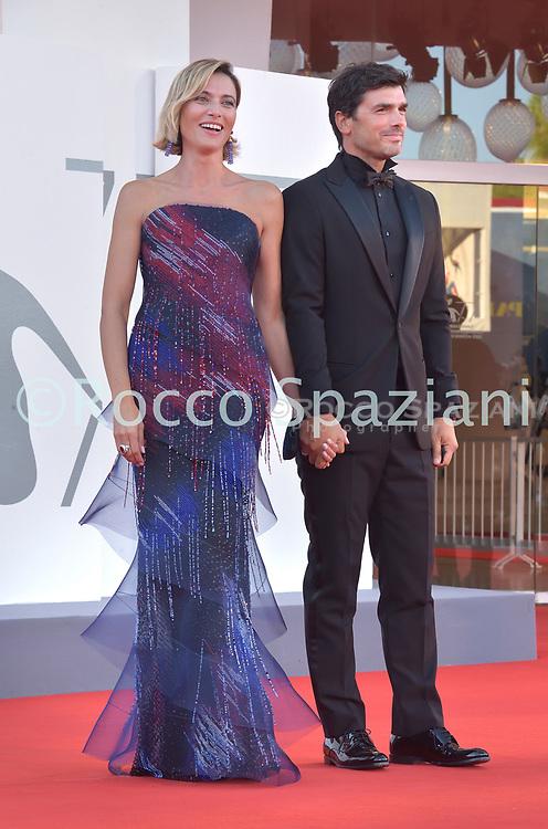 VENICE, ITALY - SEPTEMBER 12:Anna Foglietta,Paolo Sopranzetti walk the red carpet ahead of closing ceremony at the 77th Venice Film Festival on September 12, 2020 in Venice, Italy.<br /> (Photo by Rocco Spaziani)
