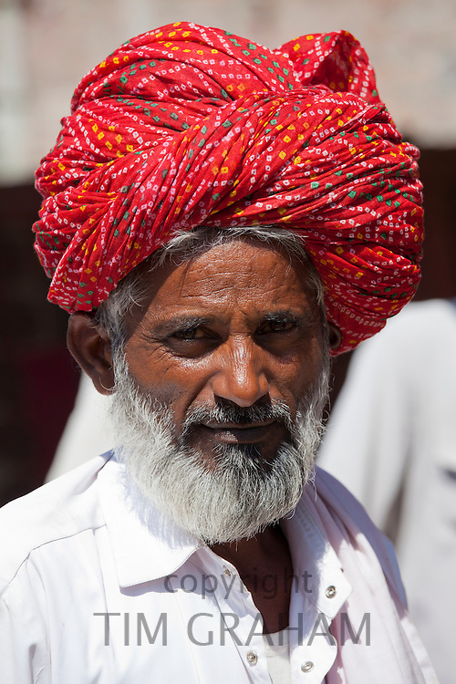 Indian Hindu man in village of Rohet in Rajasthan, Northern India