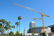 Construction And Tower Cranes On The Academy Museum Of Motion Pictures Building In LA