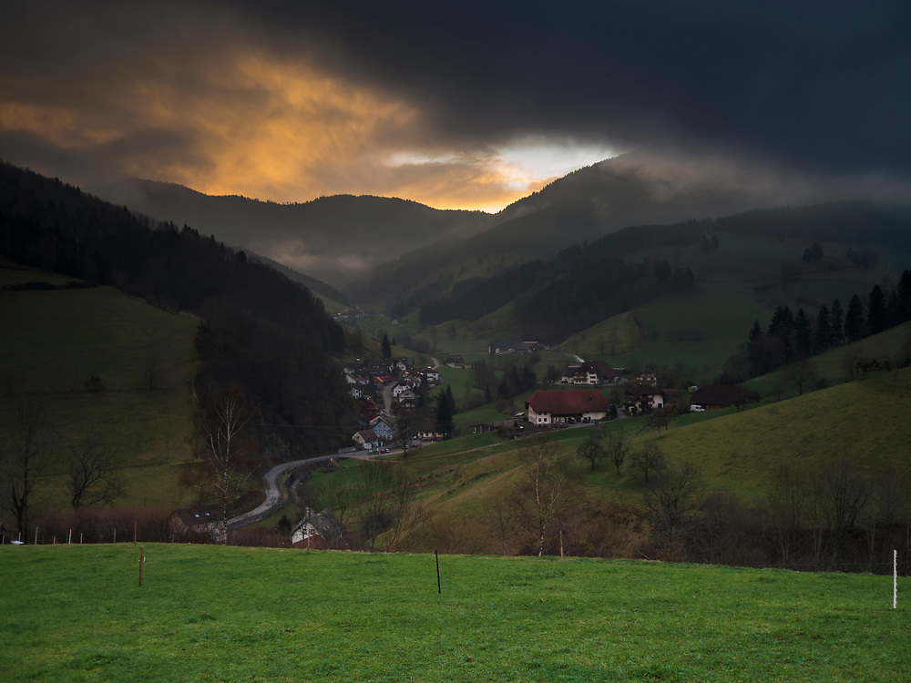 Scenic view of mountain landscape and houses, Yach, Elzach, Baden-Wuerttemberg, Germany