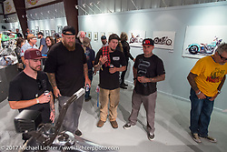 Jake Cutler of Barnstorm Cycles talks about his custom in the Old Iron - Young Blood exhibition during the media and industry reception in the Motorcycles as Art gallery at the Buffalo Chip during the annual Sturgis Black Hills Motorcycle Rally. Sturgis, SD. USA. Sunday August 6, 2017. Photography ©2017 Michael Lichter.