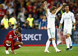 (L-R) Giorginio Wijnaldum of Liverpool FC, Luca Modric of Real Madrid CF,Cristiano Ronaldo of Real Madrid CF during the UEFA Champions League final between Real Madrid and Liverpool on May 26, 2018 at NSC Olimpiyskiy Stadium in Kyiv, Ukraine