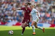 Keira Walsh (England) & Betsy Hassett (New Zealand) during the FIFA Women's World Cup UEFA warm up match between England Women and New Zealand Women at the American Express Community Stadium, Brighton and Hove, England on 1 June 2019.