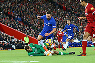 Daniel Drinkwater of Chelsea looks to go past Liverpool Goalkeeper Simon Mignolet. Premier League match, Liverpool v Chelsea at the Anfield stadium in Liverpool, Merseyside on Saturday 25th November 2017.<br /> pic by Chris Stading, Andrew Orchard sports photography.