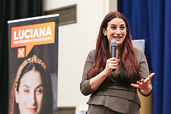 © Licensed to London News Pictures. 01/12/2019. London, UK. Liberal Democrats' parliamentary candidate for Finchley & Golders Green, LUCIANA BERGER speaks at a rally to Liberal Democrat members and party activist at Woodhouse College in Finchley, North London, to bid to stop a Conservative majority and Stop Brexit. Photo credit: Dinendra Haria/LNP