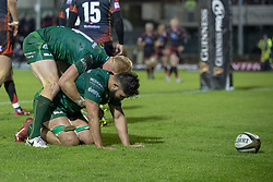 November 3, 2018 - Galway, Ireland - Colby Fainga'a of Connacht celebrates scoring with Darragh Leader during the Guinness PRO14 match between Connacht Rugby and Dragons at the Sportsground in Galway, Ireland on November 3, 2018  (Credit Image: © Andrew Surma/NurPhoto via ZUMA Press)