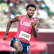 TOKYO, JAPAN August 3:   Noah Lyles of the United States  in action in the Men's 200m Semi-Final 2 for Men at the Olympic Stadium during the Tokyo 2020 Summer Olympic Games on August 3rd, 2021 in Tokyo, Japan. (Photo by Tim Clayton/Corbis via Getty Images)