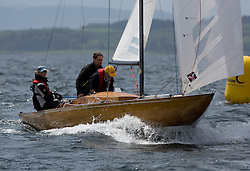 International Dragon Class Scottish Championships 2015.<br /> <br /> Day 1 racing in perfect conditions.<br /> <br /> GBR343, WIZZ TOO, Henry Boyd & Helen Horsfall, Royal Forth YC\<br /> <br /> <br /> Credit Marc Turner