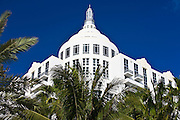 Art deco architecture Loews Hotel with St Moritz Hotel in Collins Avenue, Miami South Beach, Florida USA