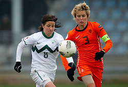 19-11-2011 VOETBAL: EK 2013 KWALIFICATIE VROUWEN: SLOVENIE - NEDERLAND: IVANCNA GORICA<br /> Mateja Zver of Slovenia vs Daphne Koster of Netherlands during the football match between Women national teams of Slovenia and Netherlands in 4th Round of EURO 2013 Qualifications<br /> ©2011-FotoHoogendoorn.nl/Vid Ponikvar