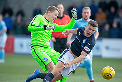 Forfar Athletic's keeper Marc McCallum out with Raith Rovers Ross Matthews. Forfar Athletic 3 v 2 Raith Rovers, Scottish Football League Division One played 27/10/2018 at Forfar Athletic's home ground, Station Park, Forfar.