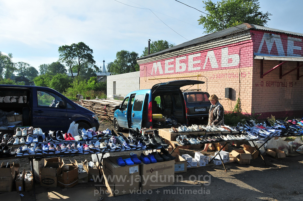"""A local market in Uglich, Russia with a wide selection of shoes. As one of Russia's """"Golden Ring"""" cities, Uglich is designated a town of significant cultural and historic importance."""