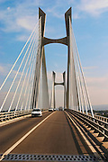 The Pont Tarascon Beaucaire Bridge completed in 2000. Cable-stayed bridge, H-pylon, semi-fan arrangement, Designed by Michel Virlogeux, architect: Charles Lavigne, Between Tarascon, Bouches-du-Rhone (13), Provence-Alpes-Cote d'Azur, France and Beaucaire, Gard (30), Languedoc-Roussillon, France Saint Remy Rémy de Provence, Bouches du Rhone, France, Europe
