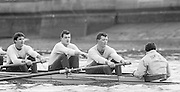 London. United Kingdom.  1987 Pre Fixture, Varsity Boat Race. National Squad vs Cambridge University BC on the Championship Course Mortlake to Putney. River Thames.  Saturday 21.03.1987<br /> <br /> [Mandatory Credit: Peter SPURRIER/Intersport images]<br /> <br /> left to right. Jim PEW, Jim GARMAN, Paddy BROUGHTON and Cox. Julian WOLFSON 19870321 Pre Boat Race fixture, National Squard vs Cambridge UBC, London UK