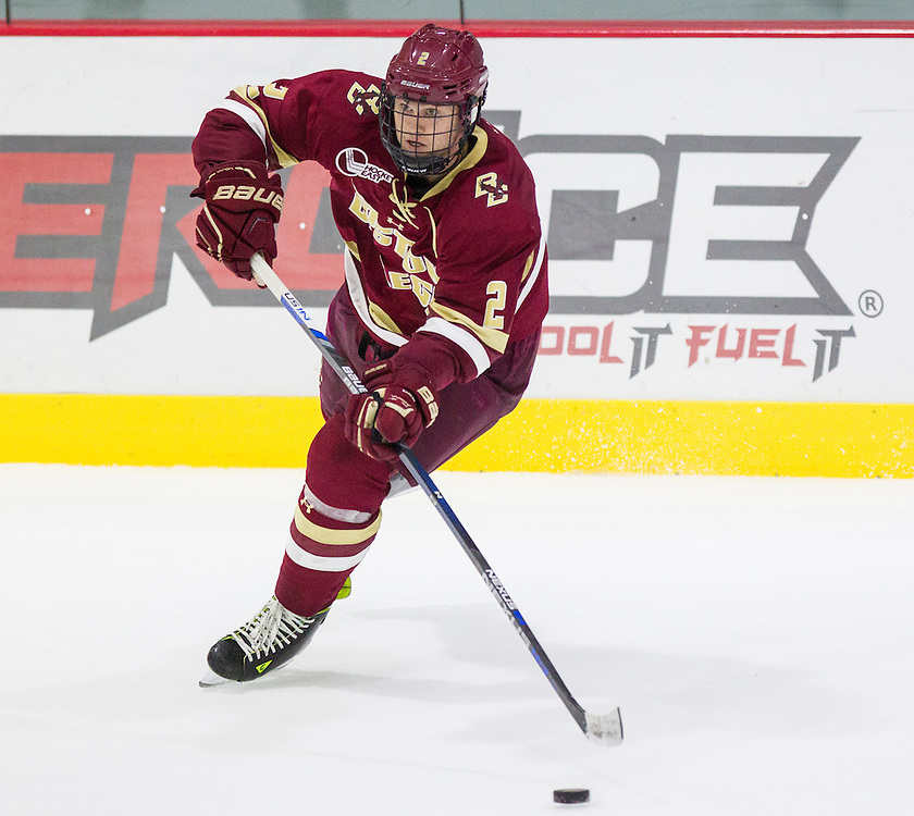 Boston College Defenseman Scott Savage (2) during the second period of a NCAA hockey game between Army and Boston College at Tate Rink on October 9, 2015 in West Point, New York. (Dustin Satloff)