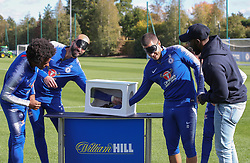 Chelsea's Willian (left), goalkeeper Willy Caballero (second left), Eden Hazard (second right) and Jorginho (hidden) take part in various challenges set by William Hill at Chelsea Cobham Training complex.