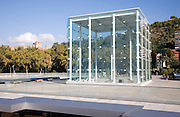 Glass box structure in Muelle Uno port development providing stairs to underground car park Malaga, Spain