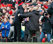 Ole Gunnar Solskjaer manager of Manchester United greets Josep Guardiola manager of Manchester City during the Premier League match at Old Trafford, Manchester. Picture date: 8th March 2020. Picture credit should read: Darren Staples/Sportimage