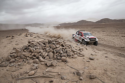 MOQUEGUA, Jan. 12, 2019  Dutch driver Bernhard ten Brinke and Frence co-driver Xavier Panseri compete during the 5th stage of the 2019 Dakar Rally Race, near Moquegua, Peru, on Jan. 11, 2019. Bernhard ten Brinke and Xavier Panseri finished the 5th stage with 5 hours 39 minutes and 5 seconds. (Credit Image: © Xinhua via ZUMA Wire)