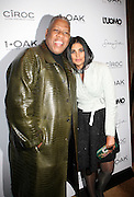 """l to r: Andre Leon Talley and Rachel Roye at the cocktail party celebrating Sean """"Diddy"""" Combs appearance on the """" Black on Black """" cover of L'Uomo Vogue's October Music Issue"""