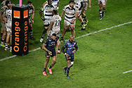 Waisea Nayacalevu Vuidravuwalu (Stade Francais) scored a try, celabration with Djibril Camara (Stade Francais) who gave the decisive ball, Bordeaux team in background during the French championship Top 14 Rugby Union match between Stade Francais Paris and Union Bordeaux-Begles on December 30, 2017 at Jean Bouin stadium in Paris, France - Photo Stephane Allaman / ProSportsImages / DPPI