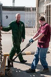 Instructor & prisoner working in the workshops, HMP Barlinnie, Glasgow