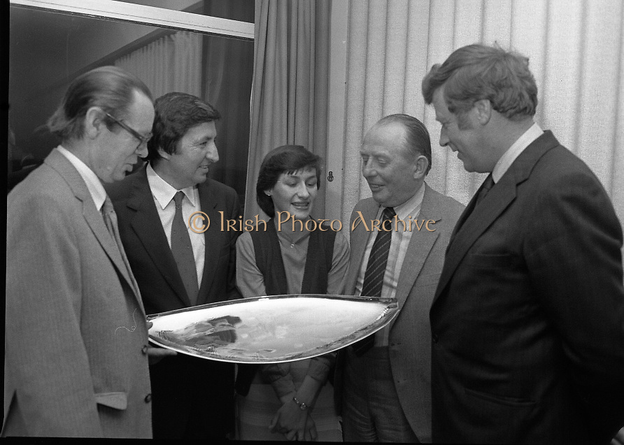 """""""The National Fish Cookery Award""""..29.04.1982..04.29.1982.29th April 1982.1982..This competition sponsored by Bord Iascaigh Mhara was held in The Clare Inn, Newmarket-on Fergus,Co Clare. the competition was open to schools across the country..Mr. Paddy Kerin,Assistant Sec.,Dept.,Fisheries and Forestry, Minister Daly,Catherine O'Sullivan (winner),Mr. Jimmy Power,Secretary,Dept.,Fisheries and Forestry and Dr. Tony Meaney,CEO,Bord Iascaigh Mhara discuss her prize."""