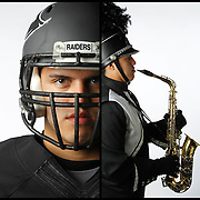 PJSA North's Andrew Leija pulls double duty on Friday nights, playing on the field as a tackle for the Raiders and playing the saxophone with the marching band at halftime. <br /> Nathan Lambrecht/The Monitor