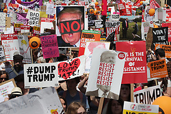 © Licensed to London News Pictures . 13/07/2018. London, UK. The women's march sets off from Portland Place. Demonstrators protest against Donald Trump during a UK visit by the US President . Photo credit: Joel Goodman/LNP