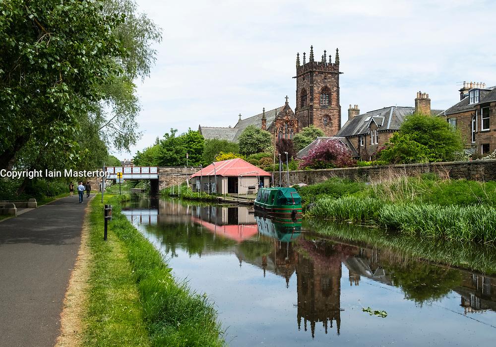 View of the Union Canal  at Polwarth in Edinburgh, Scotland, United Kingdom