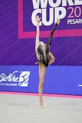 Adilkhanova Alina during qualifying in Pesaro at  World Cup in Vitrifrigo Arena Pesaro on May 28/29, 2021. Alina is an Kazakh rhythmic gymnastics.
