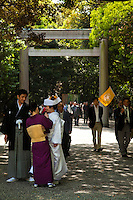 """Japanese Shinto Wedding at Atsuta Shrine, Nagoya - Atsuta Shrine is one of the most venerated and holy of all Shinto shrines in Japan.  Familiarly known as Atsuta Sama (Venerable Atsuta) dedicated to the veneration of the """"Five Great Gods of Atsuta"""" all of whom are connected with the legendary narratives of the sacred sword."""
