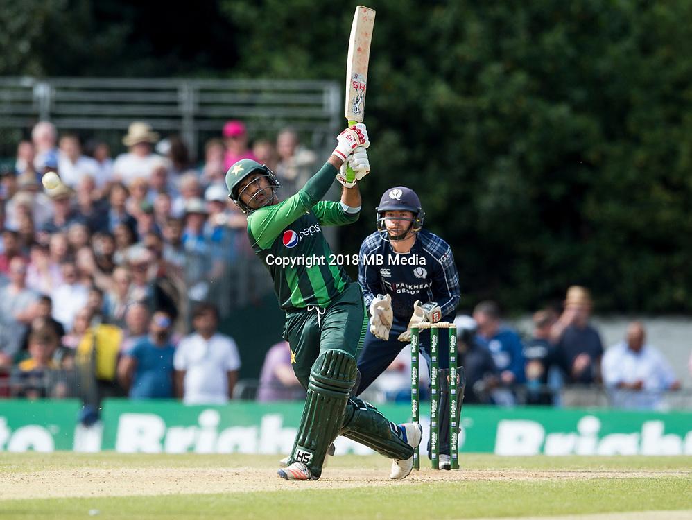 EDINBURGH, SCOTLAND - JUNE 12: Sarfraz Ahmed of Pakistan bats during the International T20 Friendly match between Scotland and Pakistan at the Grange Cricket Club on June 12, 2018 in Edinburgh, Scotland. (Photo by MB Media/Getty Images)