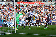 Emile Heskey of Bolton Wanderers goes close as he gets his head to the ball but sees his header hit the woodwork. Skybet football league championship match, Bolton Wanderers v Derby County at the Macron stadium in Bolton, Lancs on Saturday 8th August 2015.<br /> pic by Chris Stading, Andrew Orchard sports photography.
