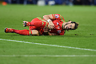 Gareth Bale of Wales reacts after being fouled. Wales v Andorra, Euro 2016 qualifying match at the Cardiff city stadium  in Cardiff, South Wales  on Tuesday 13th October 2015. <br /> pic by  Andrew Orchard, Andrew Orchard sports photography.