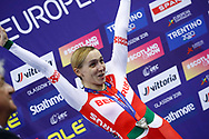 Podium, Women Points Race, Ina Savenka (Belarus) silver medal, during the Track Cycling European Championships Glasgow 2018, at Sir Chris Hoy Velodrome, in Glasgow, Great Britain, Day 3, on August 4, 2018 - Photo Luca Bettini / BettiniPhoto / ProSportsImages / DPPI