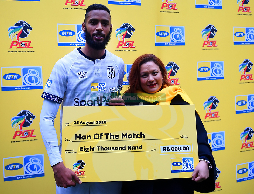 Cape Town-180825- Cape Town City defender Taariq Fielies wan named man of the match in the first leg of the MTN 8 semi-final against  Mamelodi Sundownsl at Cape Town Stadum.Photographer :Phando Jikelo/African News Agency/ANA