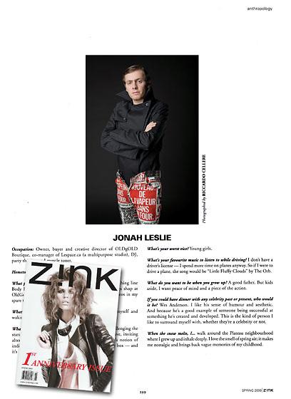 Editorial portrait of Montreal clothier Jonah Leslie for Zink Magazine. 2009.