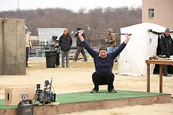 EXCLUSIVE: CBS's series, 'The Code' has started shooting in upstate New York. The TV drama series, set to co-star Mira Sorvino shot an exterior scene today with Anna Wood and Dave Annable shooting off golf balls. 20 Mar 2018 Pictured: Anna Wood, Dave Annable. Photo credit: JAPIX/Jim Alcorn / MEGA TheMegaAgency.com +1 888 505 6342