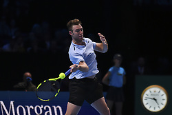 November 14, 2017 - London, England, United Kingdom - Jack Sock of the USA in action in his Singles match against Marin Cilic of Croatia on day three of the Nitto ATP World Tour Finals at O2 Arena, London on November 14, 2017. (Credit Image: © Alberto Pezzali/NurPhoto via ZUMA Press)